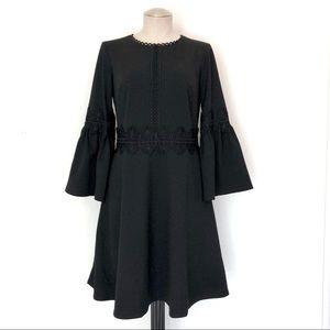 Banana Republic Bell Long Sleeve Black Dress 6